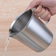 Толще 1000 мл, мерный стакан окончил/выпечки/жидкость/молоко Кофейная, из нержавеющей стали мерный стакан мера для Пособия по кулинарии инструмент