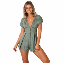 Summer Europe and America New Fashion Personality Trend Bohemian Button Decoration Loose Pleated V-neck Elegant Womens Jumpsuit