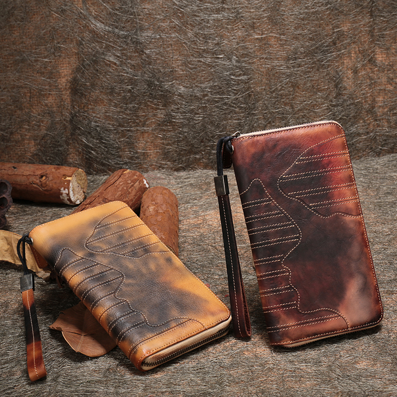Long Wallet Women Multi Credit Card Holder Handmade Genuine Leather Clutch Bags ID Window Panelled Purse Lady Wristlets Wallets