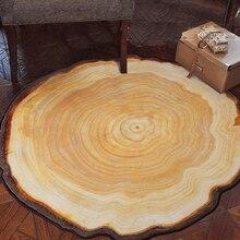 Античный Деревянный Дерево Годовой Кольцо Круглый Окружающей Ковер Для Гостиной Спальня Кабинет Ковер Не скользит Председатель Всу плюшевый Ковер