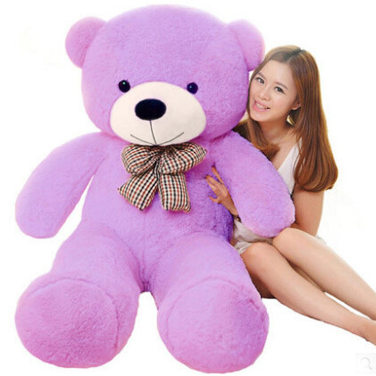 220 см огромный плюшевый медведь мягкие плюшевые игрушки Размер жизни плюшевый мишка мягкие детские мягкие плюшевые низкая цена Рождественский подарок - Цвет: Фиолетовый