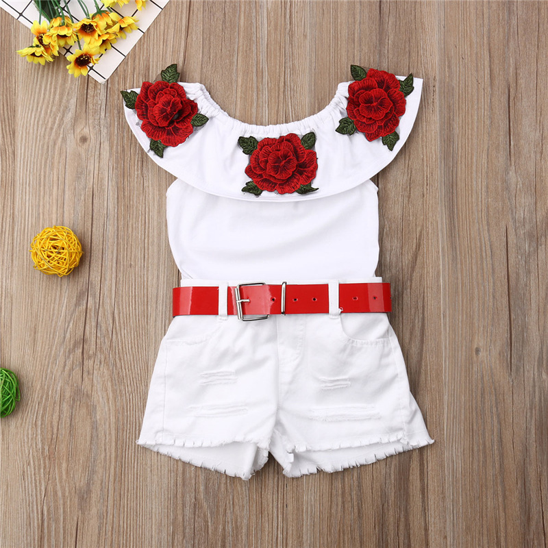 Summer Girls Clothes Sets Baby girls Sling T-shirt And Shorts Suit Tracksuit For Kids Clothes Fashion Children Clothing Set (8)