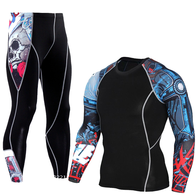 Men's Compression Run Jogging Suits Clothes Sports Set Long T Shirt And Pants Gym Fitness Workout Tights Clothing 2pcs/Sets MMA 1