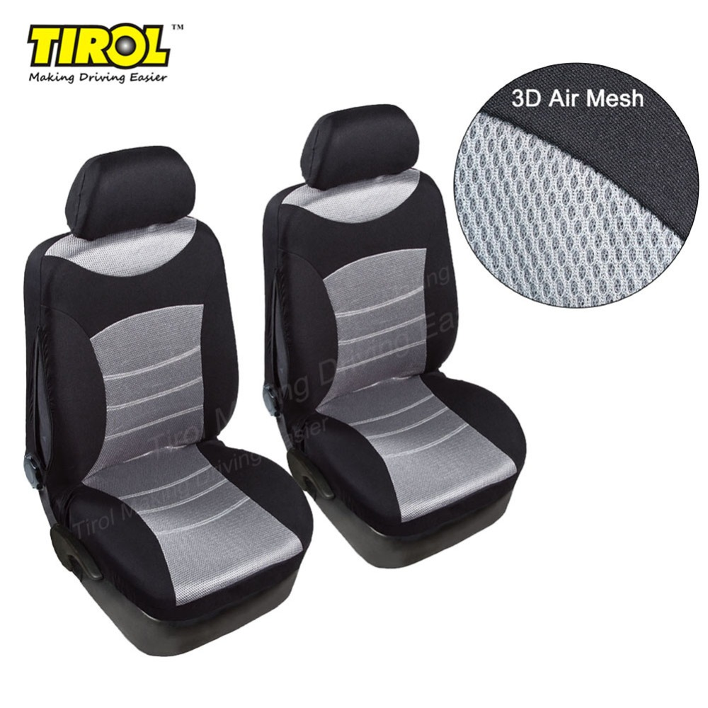 TIROL Universal Car Front Seat Cover 3D Air Mesh Breathable Seat Protector (2 Pack) Airbag Compatible Fit Most Car