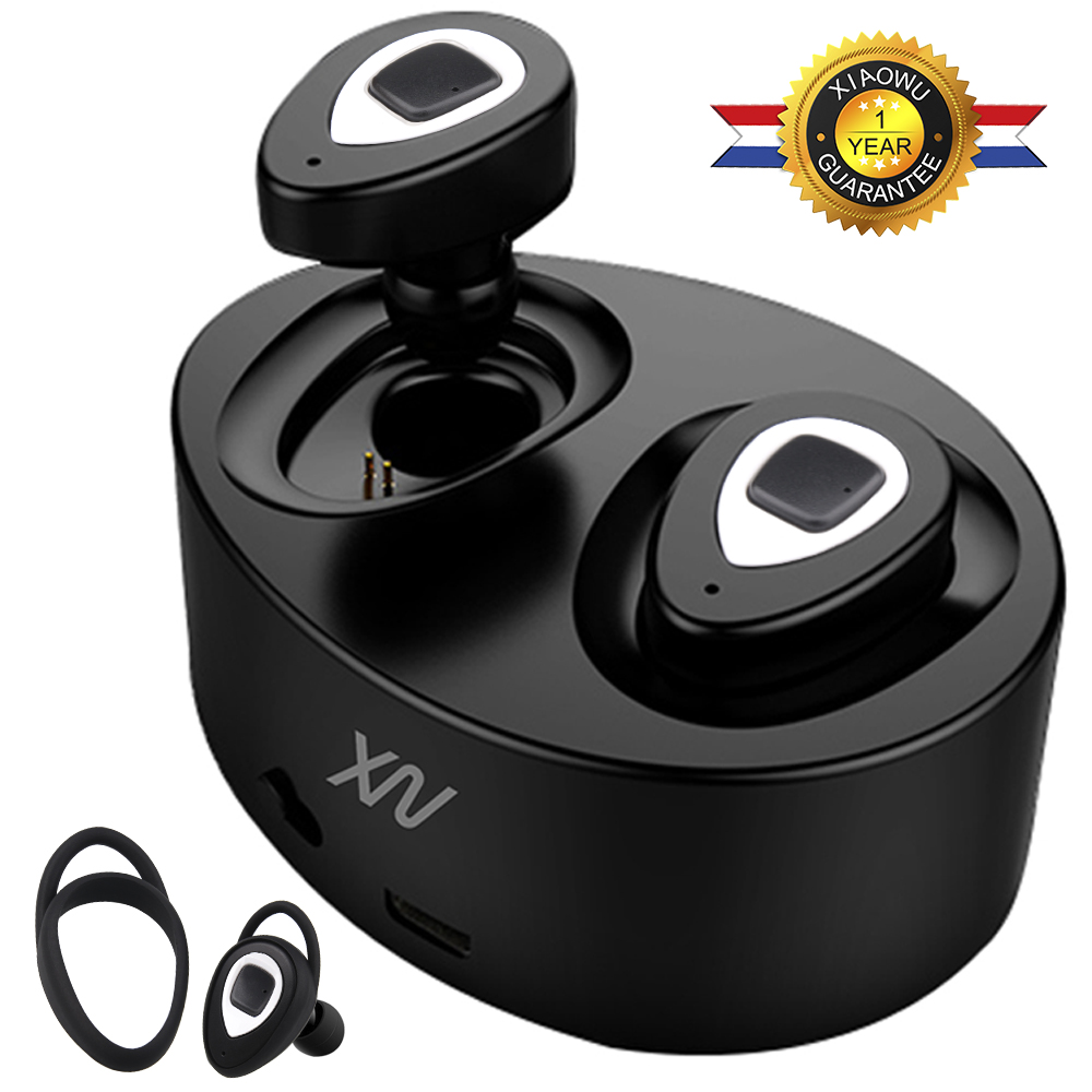 Original XIAOWU k5 K2 mini Headset wireless bluetooth earphone Binaural earbud with Mic Charging Box for iphone 8 /android phone bluetooth earphone mini wireless stereo earbud 6 hours playtime bluetooth headset with mic for iphone and android devices
