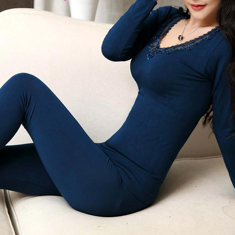 Warm Clothing - Hot Sale Winter Plus Thick Velvet Seamless Body Shaping Thermal Underwear Women Suit #1835866