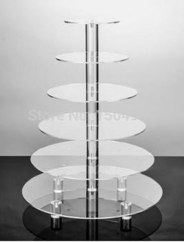 Free Shiping Round 6 Tier clear Acrylic Cupcake Display Stand /acrylic cake stand with base