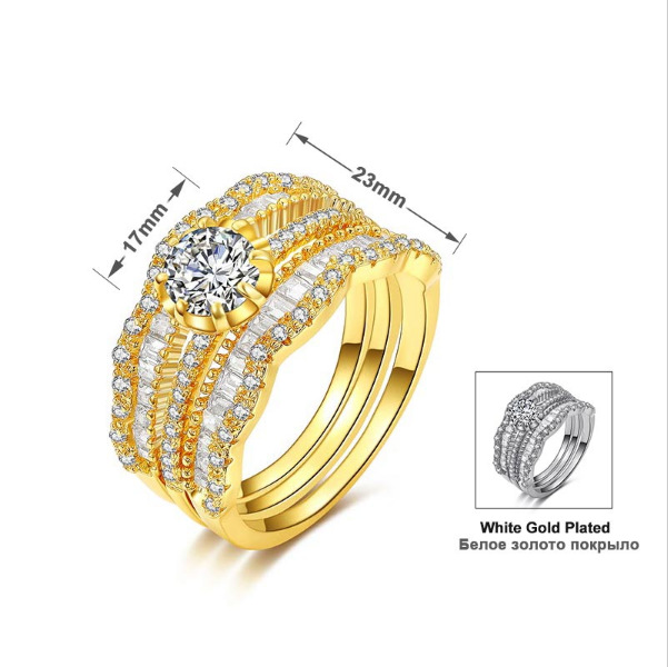Huitan Luxury 3PC Wedding Ring Set For Women Finger With Stone Two Color Available Romantic Proposal Gift