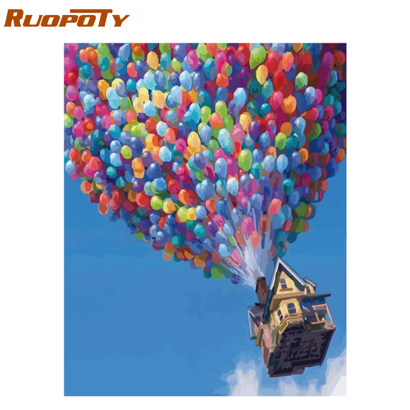 RUOPOTY globo marco DIY pintura al óleo por números Kit paisaje pintura de acrílico en la lona regalo único pintura caligrafía 40x50 cm