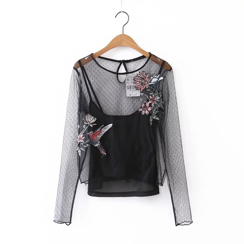 Spring Summer Women's Mesh Embroidery Floral Long Sleeve Casual Blouses Camis 2 Piece Set