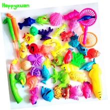 Happyxuan 45pcs Set Plastic Magnetic Fishing Toys Game Kids 3 Poles 2 Nets 40 Magnet Fish Indoor Outdoor Fun Baby