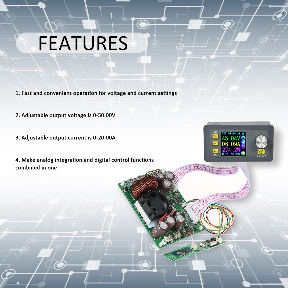 LCD Digital Programmable Control Buck-Boost Power Supply Module voltage regulator Constant Voltage Current DC 0-50.00V/0-20.00A 600w mppt power supply module dc 12 90v to 24v 36v 48v 60v 72v adjustable voltage regulator solar controller boost adapter