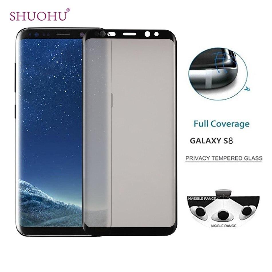 Shuohu Новый конфиденциальности полное покрытие Экран протектор Анти-шпион закаленное Стекло для Samsung Galaxy S8 S8 плюс анти шпион секрет протектор