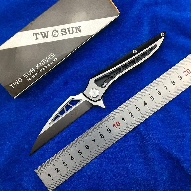 NIGHTHAWK TWO SUN TS86 D2 blade Tactical ball brearing folding knife titanium hunting Pocket knives outdoor