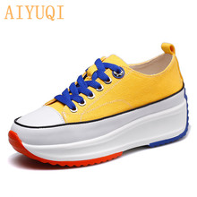 AIYUQI Women sneakers platform 2019 new height Increasing Lace-up canvas shoes thick bottom white shoes girl 2017 new fashion platform hidden wedges canvas casual shoes height increasing women beading lace up breathable shoe thick bottom