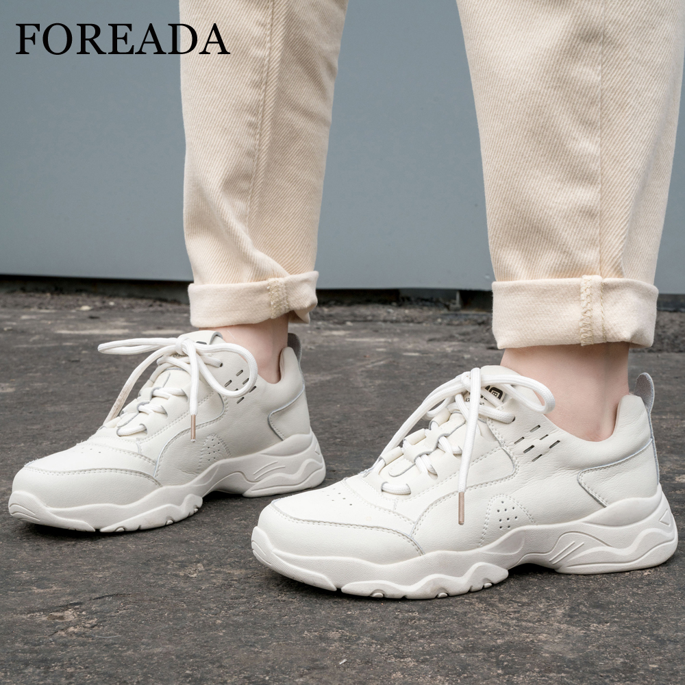 FOREADA Casual Flats Sneakers Women Shoes Natural Genuine Leather Flat Platform Shoes Lace Up Round Toe Shoes Ladies Size 35-39