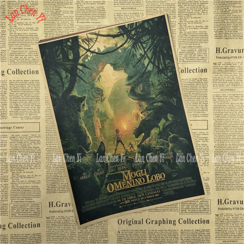 Fantasy Film The Jungle Book Classic Movie Kraft Paper Poster Cafe Creative wallpaper Interior Decoration Free Shipping