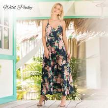 WildPinky Womens Dress 2019 Fashion Women Boho Floral Long Maxi Sleeveless Evening Party Summer Beach Sundress Vestidos