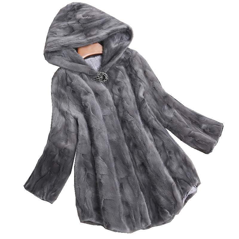 Роскошные Пьеса норки пальто куртка осень-зима Для женщин меха теплая верхняя одежда пальто одежда 3XL LF4226