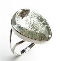 Fashion Jewelry 925 Sterling Silver Rings For Women Men Natural Red Green Phantom Quartz Crystal Waterdrop