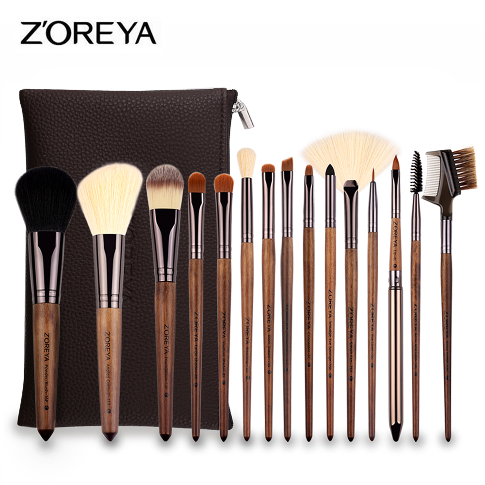 ZOREYA 15pcs Professional Makeup Brush Set Large Foundation Powder Blush Kabuki Cosmetic Make Up Brushes Tools Kits Maquiagem 10pcs make up brush set foundation makeup brushes kit professional nylon hair cosmetic face hand to beauty kabuki powder brush