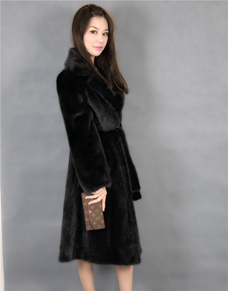 X-long Real Mink Coat With Turn-down Collar Black Color With Belt Length 105cm Woman  Natural Mink Fur Coat