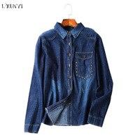 LXUNYI Womens Tops And Blouses 2018 New Spring Rivet Vintage Casual Denim Shirt Women Long Sleeve