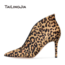 Women Black Pointed Toe High Heel Ankle Boots Stylish Slip on White Booties Ladies Evening Dress Shoes Leopard Horse Hair Heels ladies stretch cloth thin high heel ankle boots fashion slip on pointed toe booties women comfort spring autumn shoes black