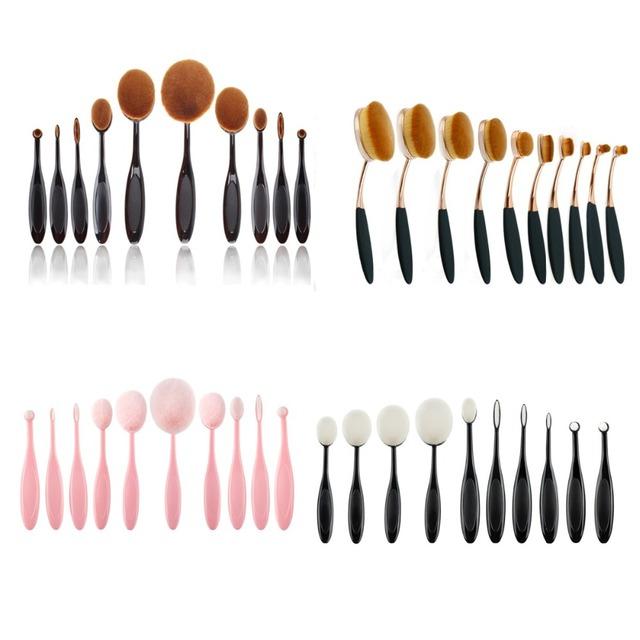 10 unids/set Tooth Forma Oval Cepillo Del Maquillaje Multiusos Fundación Pinceles de Maquillaje Profesional En Polvo Compone el Cepillo Kits de Belleza