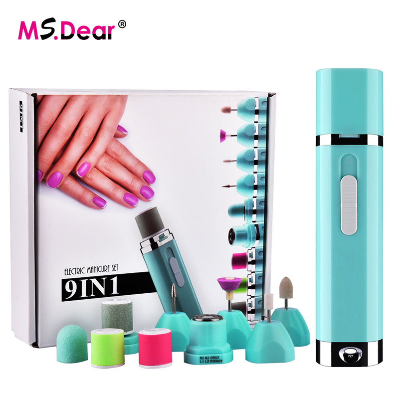 9in1 Electric Nail Art Drill File Pedicure Manicure Machine Kits Baby Nail Cutter Tools For Nail Gel with 8 Bits Women Shaver electric nail drill machine manicure pedicure portable nail art tools strong polishing machine cutter drill file bits set nails