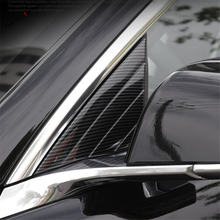 Yimaautotrims Outside Front Pillar A Post Triangle Cover Kit Interior Mouldings Fit For Tesla Model 3 2018 2019 Carbon Fiber ABS carbon fiber drawing rear seat reading light cover abs decoration strips for tesla model 3 2018 2019 interior roof lamp frames