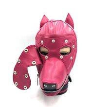 Hot Soft Leather Bondage Dog Head Hood Headgear Face Mask Detachable Eyepatch Adult Slave BDSM Bed Sex Games Toy 4 Color 611