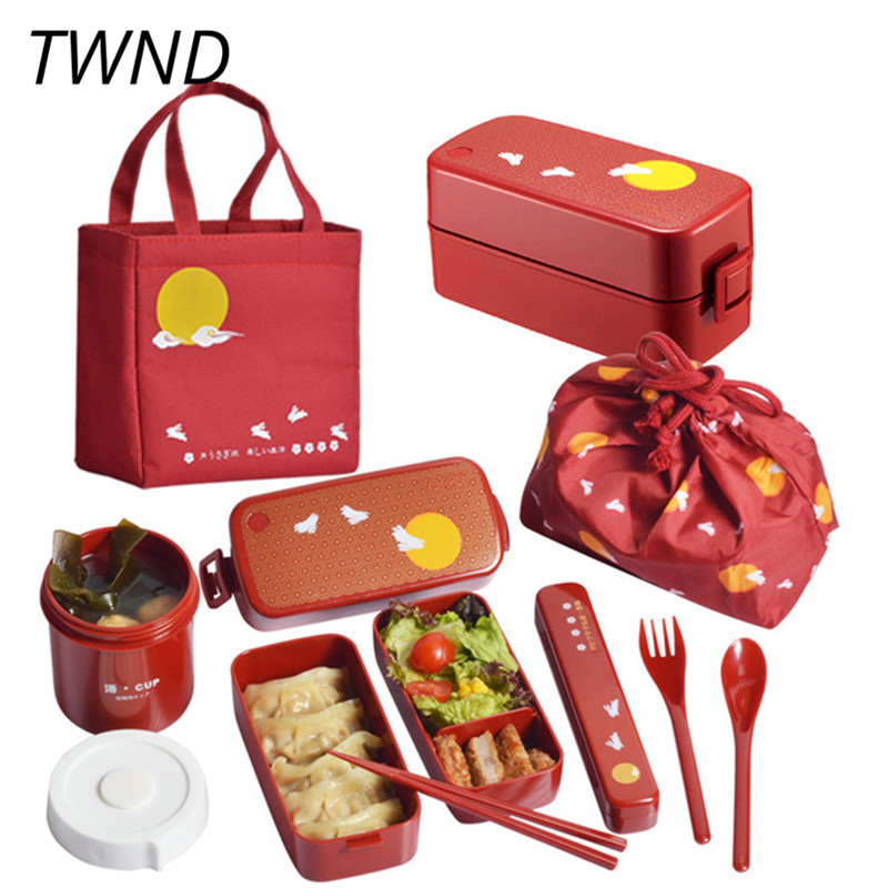 Double layer bento box japanese style plastic microwave oven heating creative tableware 28