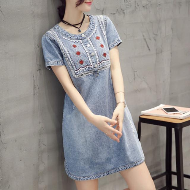 Embroidery Short Sleeve Denim Dress