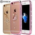 Caso strass para iphone 7/7 plus silicone glitter diamante tampa transparente para o iphone 7 plus casos saco telefone coque luxo