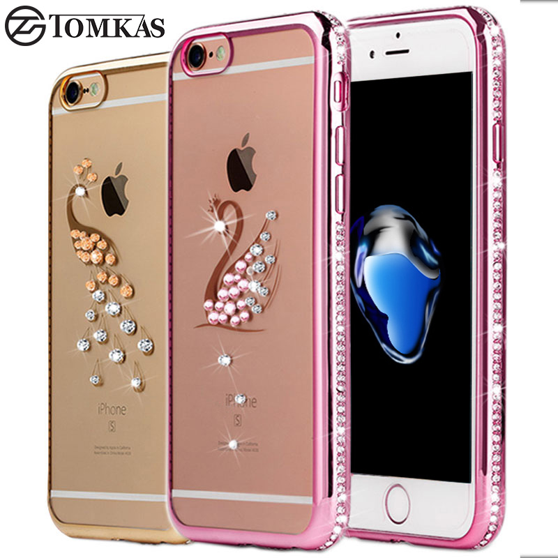 rhinestone case for iphone 7 7 plus silicone glitter diamond transparent cover for iphone 7. Black Bedroom Furniture Sets. Home Design Ideas