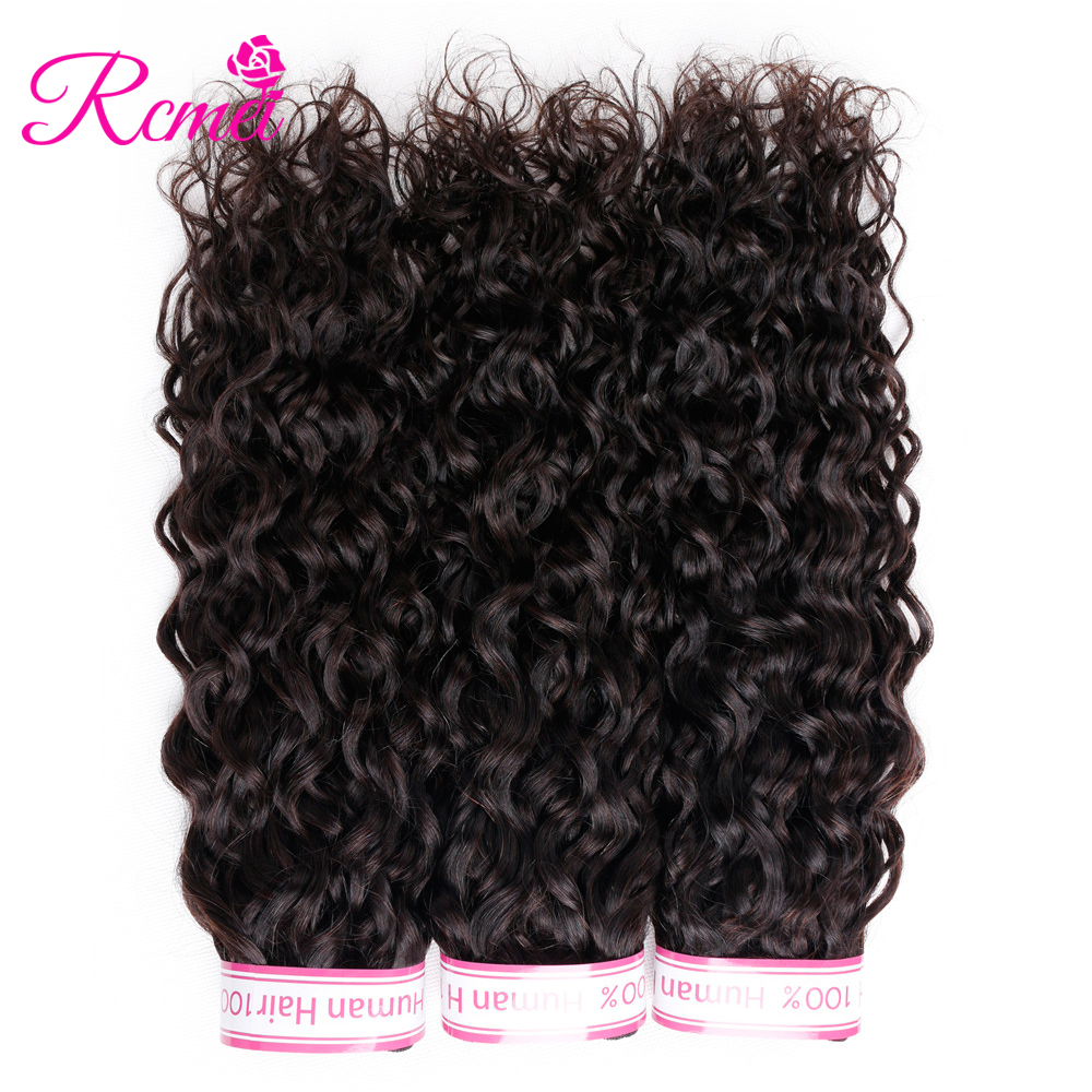 Rcmei Peruvian Water Wave Hair Weave Bundles 3 Piece Non Remy Human Hair Weaving Natural Color 8-28 inch Extension Double Weft