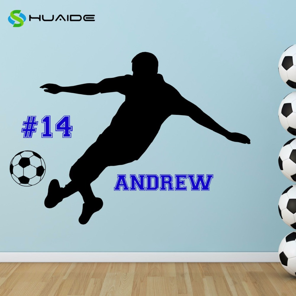 personalized name number soccer player vinyl wall decal boys