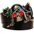 Мода Новый мужской кожаный ремень металлические пряжки цветные пиратский нож ремни панк-рок преувеличены череп пирата ремня хип-хоп пояс