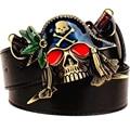 Nova moda dos homens da correia de couro cintos de fivela de metal colorido faca pirata cinto exagerado do crânio do pirata do punk rock hip hop cinto