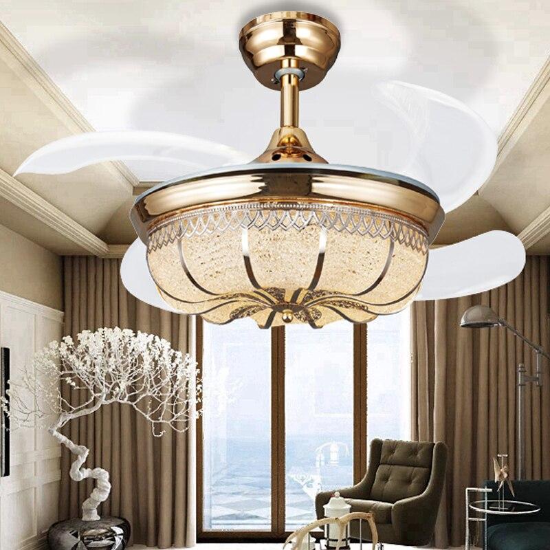 36 Zoll Moderne Led Kristall Deckenventilatoren Mit Lichter Schlafzimmer  Fan Lampe Dekoration Falten Deckenventilator Fernbedienung 220