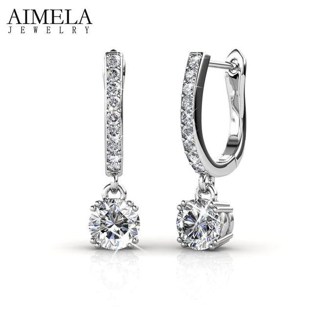 AIMELA Oro Blanco Plateado Geométrica Cristales Pendientes de Aro Redondo Calidad de Latón Pendientes Pendientes Para Las Mujeres Joyería de La Boda