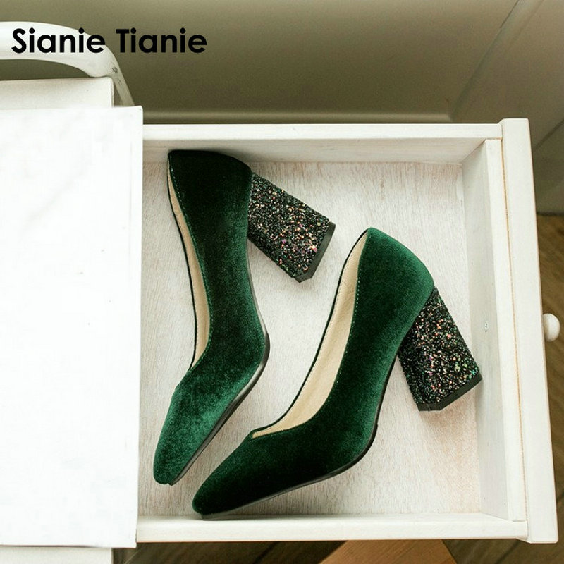 Sianie Tianie velour velet classic woman pumps shoes green burgundy stilettos glitter bling block high heels women shoes size 45 high heels
