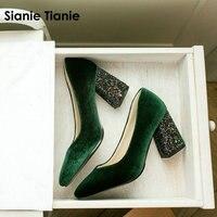 Sianie Tianie/велюровые классические женские туфли-лодочки, туфли на шпильке зеленого и бордового цвета, блестящие женские туфли на высоком каблу...