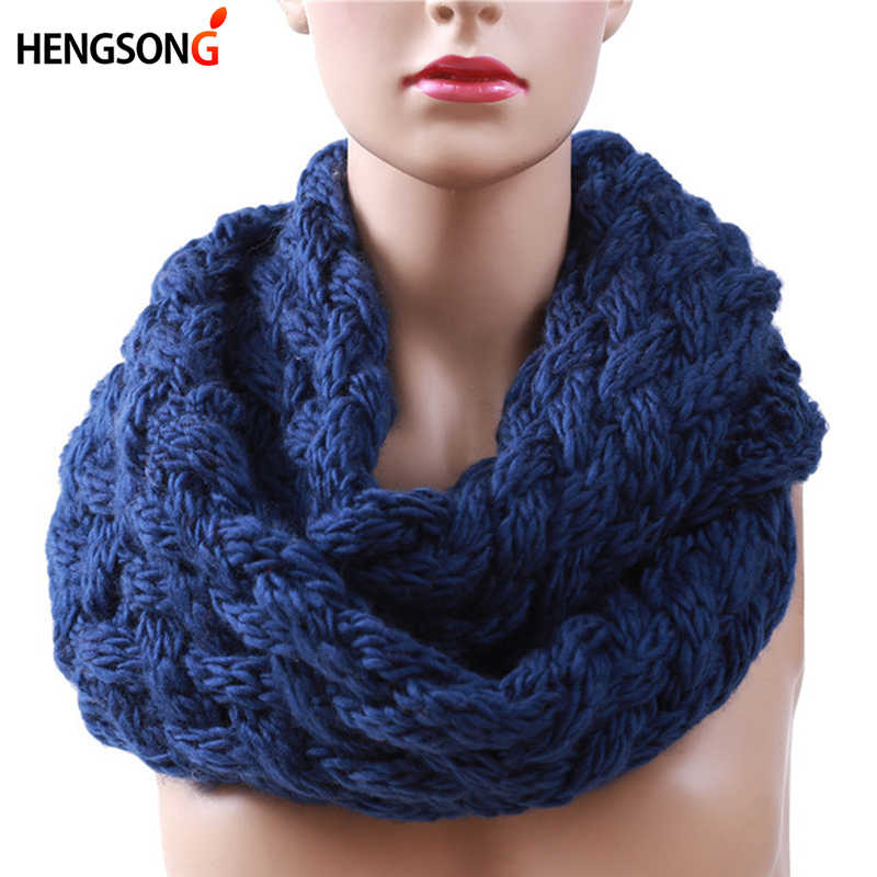 2017 Winter Cable Ring Scarf Women Knitting Infinity Scarves Knitted Warm Neck Circle Scarf Bufandas Cuellos Hot Sale