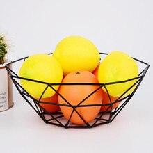 Геометрическая корзина из проволоки для фруктов и овощей, металлическая чаша для кухонного хранения, настольная витрина для фруктов, овощей, винных подносов