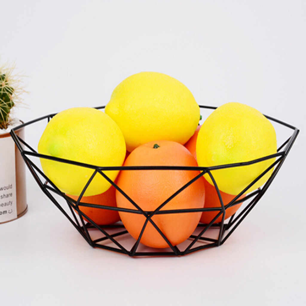 Geometric Fruit Vegetable Wire Basket Metal Bowl Kitchen Storage Desktop Display Fruit Vegetable Wine Trays