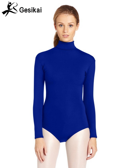 24 Hrs Shipped Out Womens Long Sleeves Turtleneck Back Zipper Gymnastics Leotards Womens Fitness Dancing Leotard