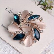 Женская мода Горный Хрусталь Бауайния Форма Брошь Платье Декоративные Pin Для Свадьбы CX02