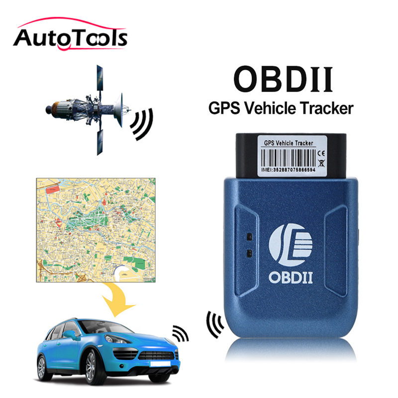 10pcs lot TK206 Car GPS Tracker OBDII Interface Geo fence Function Autos fleet Tracking Device Blue